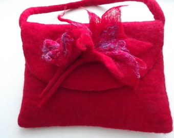Hand Felted Handbag with felted handle and flower corsage - Made to Order