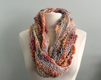Ready to Ship Infinity Scarf, Cowl  Hand Knit in in Autumn Colors - Neckwarmer - Scarf - Cowl - Fashion Accessory