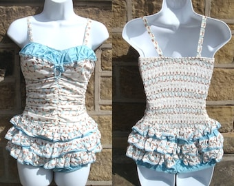 vintage CATALINA gingerbread patterned BATHING SUIT (size 14/36)