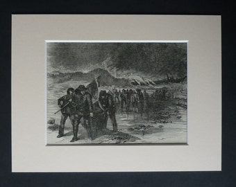 1880s Antique Maritime Print of a Shipwrecked Crew, Available Framed, Storm Art, Shipwreck Gift, Stormy Sea Wall Art Coastal Victorian Decor