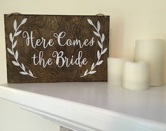 Here Comes The Bride Wood Sign Wedding Sign