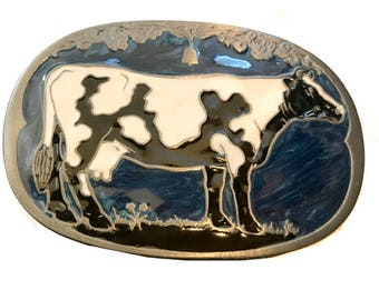 Vintage Cow Belt Buckle - Farm - Dairy Farmer - Black and White - Farming - Animal
