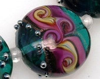 Turquoise, pink, purple Lentil  lampwork beads set of 1 ,handmade beads, lampwork glass beads , MTO, artisan glass beads, jewelry supplies