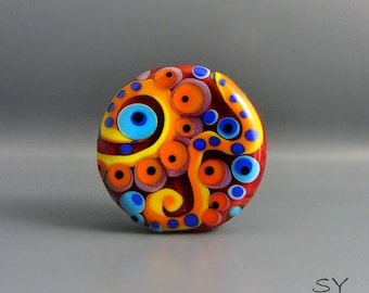 Flower Power- Peacock design- lampwork Art Glass - Its an original  Michou P. Anderson Design - Brand: Sonic & Yoko
