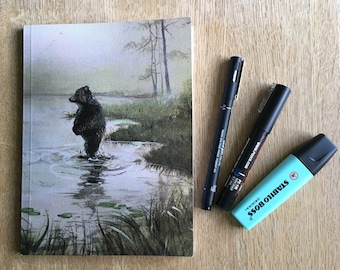 "Notebook: ""Magical Morning"", unlined, sketchbook, journal, bullet, daily, notes, art, bear, nordic, landscape, woodland, bujo, calligraphy"