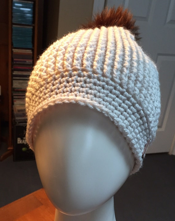 Linen/Off-White Ribbed Hat with Mink Faux Fur Pom Pom