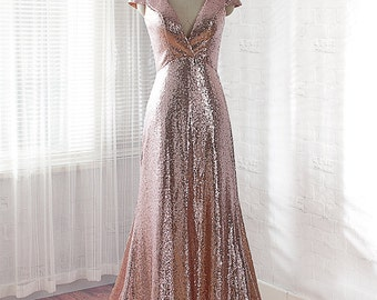sequins prom dress, long evening dress, formal dress, homecoming dress with Rose Gold
