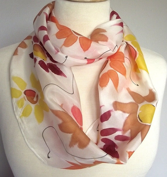 "Hand Painted Silk Infinity Scarf, 9x60"", Sunflowers in Yellow, Orange, Coral and Caramel with Black Lines"