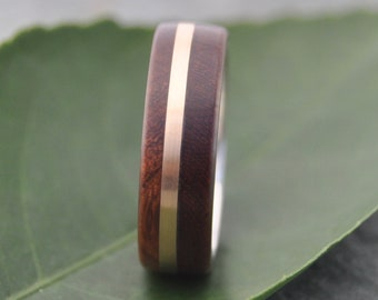 Size 9.75, 7mm READY TO SHIP Solsticio Oro Nacascolo - sustainable wood, 14k yellow gold and recycled sterling ring
