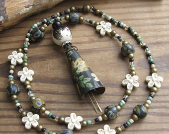 Kokeshi Doll Assemblage Statement Necklace Beads Black Cream Green Flowers