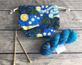 Starry Starry Night - Project Bag -- Drawstring Knitting Bag -- Yarn Bag -- Crochet Bag