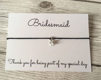Bridesmaid thank you gift, bridesmaid gift, bridesmaid bracelet, wedding thank you gift, wish bracelet, flower girl thank you gift.