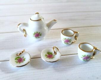 Tea Charms Tea Time Charms Teapot Charm Teacup Charms Tea Set Vintage Style Charms Ceramic Charms Tea Time Set
