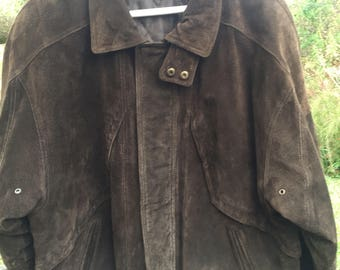 Mens Brown Suede Leather Bomber Jacket By River Run Large