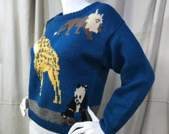 Animal Safari Sweater 80s Novelty Panda Giraffe // Boxy Cropped Sweater Wool Eagle's Eye