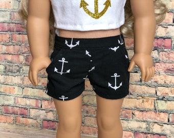 18 Inch Girl Doll Clothes | Black White Anchor Slant Pocket SHORTS American Made