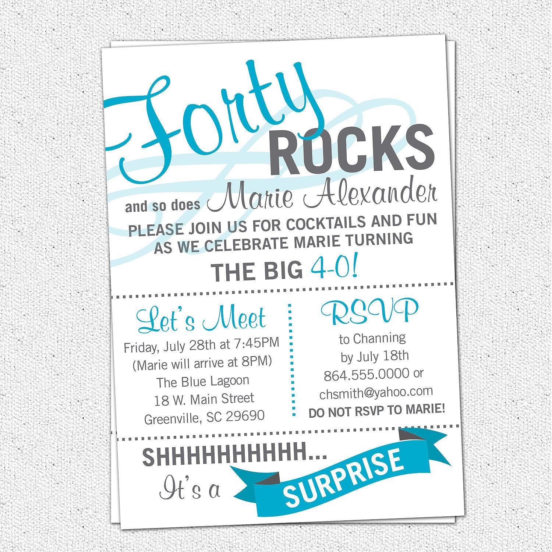Printable forty rocks birthday party bash invitation zoom monicamarmolfo Images
