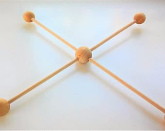 Wooden 4 baby mobile Kit branches balls