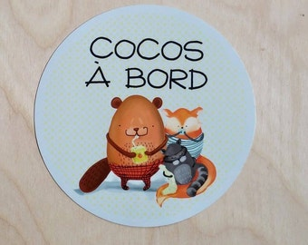 Free shipping, Cocos à bord, autocollant voiture, bébé à bord, collant, automobile, famille, enfants à bord, affiche, sticker