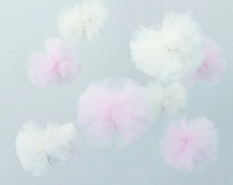 Pom Poms Baby Mobile Pink Poms Tulle Balls Puffs Baby Girl Decor Nursery Decorations Pink and Ivory Baby Gifts Pom Pom Decoration