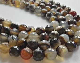 8 mm 10 mm Black White Agate Beads , Faceted Agate Beads ,Round Beads, Gemstones Beads , Semi Precious Beads , Wholesale Agate Beads , Beads