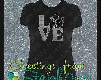 Poodle Love Rhinestone T-shirt