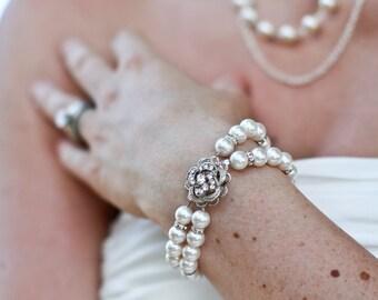 pearl bracelet bridal bracelet swarovski crystal Statement Bracelet Wedding bracelet Rhinestone Bracelet bridal jewelry bridal cuff Roselani