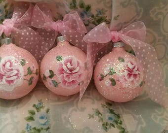 Hand painted pink shabby cottage chic Victorian valentines ornaments Set of 3 HP rose glitter sparkle pink christmas