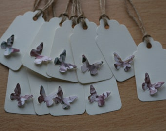 10 Luxury Hand Made Butterfly Gift Tags With Twine *2