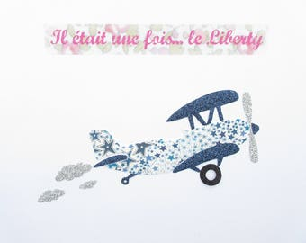 Applied fusible airplane fabric liberty Adelajda blue & glitter flex patch plane slip fusible iron-on applique