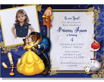 Beauty and the Beast Birthday Invitations - Digital File