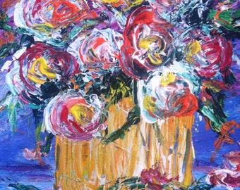 Shabby Chic Country Roses /Pallet Knife Acrylic Painting