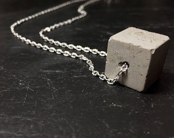 Concrete Cube on Silver Plated Adjustable Chain . Minimal, Simplistic Design . Industrial , Modern Jewellery , Contemporary Necklace .