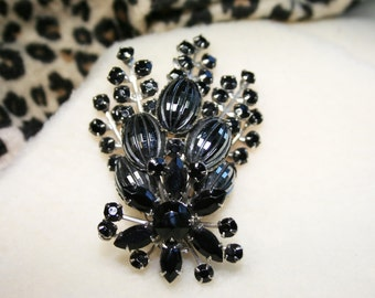 Vintage 1960s Judy Lee Black Floral Spray Brooch Pin