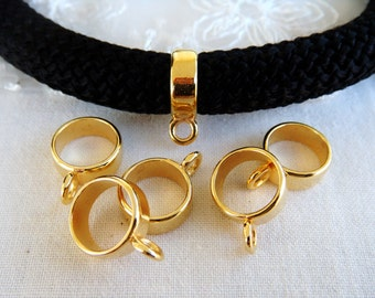 Gold Bail Beads, Bail Charm Holder Spacer with Loop, Tube Bails, Cord Bails, Slider Bails, Spacer Ring for Round Cord 10mm - 3 pieces