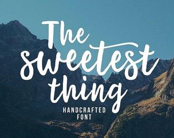 The Sweetest Thing Font, Modern Font, Handpainted Font, Handbrushed Font, Handmade Font, Brush Font, Display Font, Digital Font Download