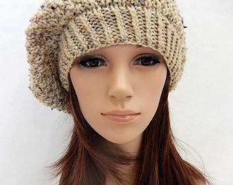 Knit Hat Slouchy Beret Handmade.. Buff Tan Beige with Flecks  (Ready to Ship)