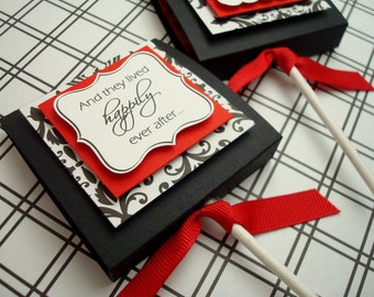 Custom Lollipop Covers, Black Red and White Damask, Set of Ten