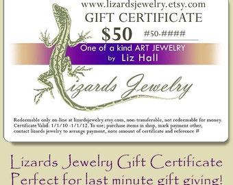 50 Dollar Gift Certificate - Lizards Jewelry