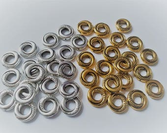 15mm donut spacers, Donut spacer beads, Ring spacer beads, Ring beads, Spacer beads, Metal spacer beads, Metal ring beads, Metal beads