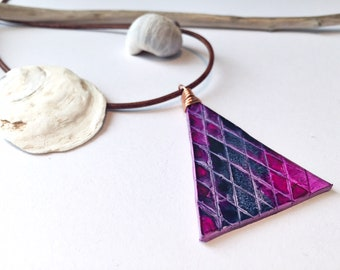 Polymer Clay Pendant Triangle Necklace - Round Leather Cord Necklace - Boho Jewelry - Purple Ombre Necklace - Gift for Her - Trending Now