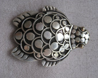 Vintage Sterling Silver Hono Sea Turtle Brooch with 18kt. Gold Eyes