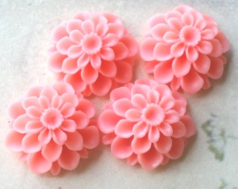 20 mm Pink Color Resin Dahlia Flower Cabochons (.am) (zzb)