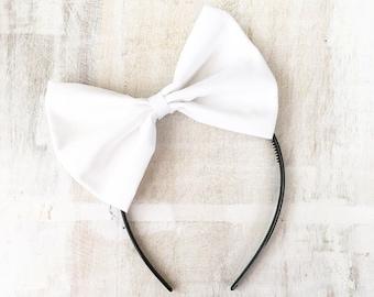 White bow headband Rockabilly Pin up girl