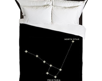 Duvet Cover, Astronomy, Big Dipper Little Dipper, North Star, Constellation Print, Stars, Black Duvet, Housewarming Gifts, Astronomy Gifts