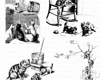 Vintage Cats Clip Art Printable Instant Download 4 images Black and white