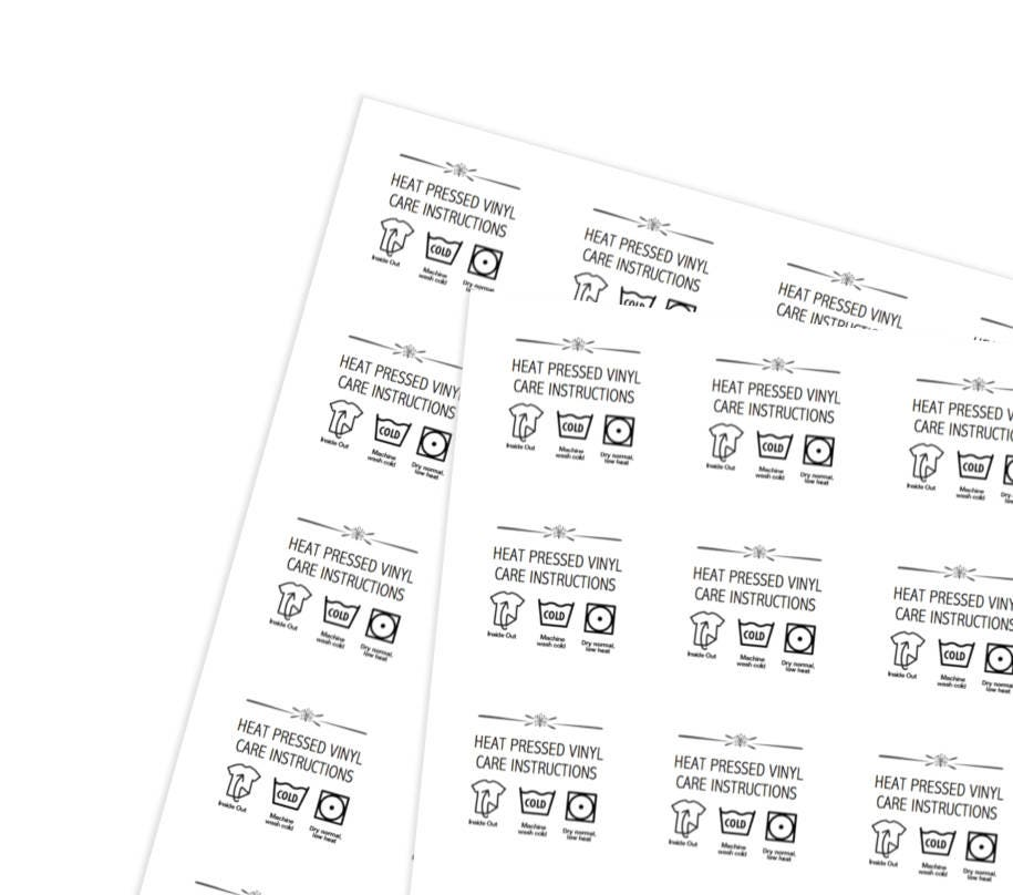 Printable Heat Pressed Vinyl Care Instructions Stickers For