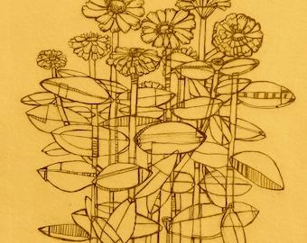Mini Art Print. 'Zinnias' by Jenn Rawling