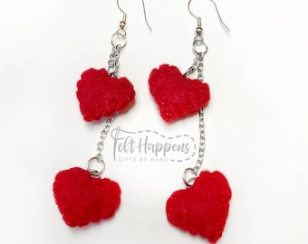 Heart Earrings, Felt Jewelry, Love, Valentines Day, Handmade Jewelry, Accessories, Gift By Hand
