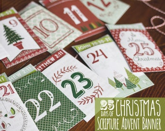 Advent Scripture Calendar ~ Family Advent Activity ~ Printable Christmas Decoration ~ Christmas Countdown